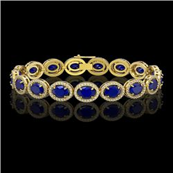 22.89 CTW Sapphire & Diamond Halo Bracelet 10K Yellow Gold - REF-291K5W - 40609