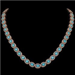 33.25 CTW Swiss Topaz & Diamond Halo Necklace 10K Rose Gold - REF-506X4T - 40434