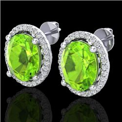 5 CTW Peridot & Micro Pave VS/SI Diamond Earrings Halo 18K White Gold - REF-82A2X - 21060