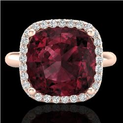 6 CTW Garnet And Micro Pave Halo VS/SI Diamond Ring Solitaire 14K Rose Gold - REF-49M3H - 23100