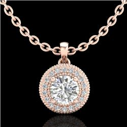 1 CTW VS/SI Diamond Solitaire Art Deco Stud Necklace 18K Rose Gold - REF-180K2W - 36966
