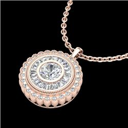 2.11 CTW VS/SI Diamond Solitaire Art Deco Stud Necklace 18K Rose Gold - REF-309T3M - 37086