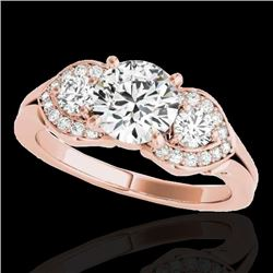 1.45 CTW H-SI/I Certified Diamond 3 Stone Ring 10K Rose Gold - REF-180M2H - 35332