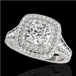 2 CTW H-SI/I Certified Diamond Solitaire Halo Ring 10K White Gold - REF-209W3F - 33652
