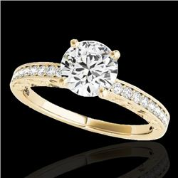 1.43 CTW H-SI/I Certified Diamond Solitaire Antique Ring 10K Yellow Gold - REF-180Y2K - 34614