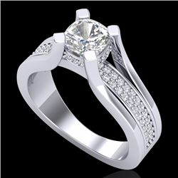 1.7 CTW Cushion VS/SI Diamond Solitaire Micro Pave Ring 18K White Gold - REF-472H8A - 37163