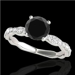 1.4 CTW Certified VS Black Diamond Solitaire Ring 10K White Gold - REF-56M2H - 34874