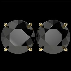 5.15 CTW Fancy Black VS Diamond Solitaire Stud Earrings 10K Yellow Gold - REF-99W5F - 36716