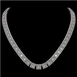 36.30 CTW Princess Diamond Designer Necklace 18K White Gold - REF-6619H3A - 42632