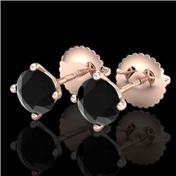 1.01 CTW Fancy Black Diamond Solitaire Art Deco Stud Earrings 18K Rose Gold - REF-40H2A - 38228