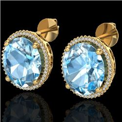 25 CTW Sky Blue Topaz & Micro VS/SI Diamond Halo Earrings 18K Yellow Gold - REF-125H6A - 20266