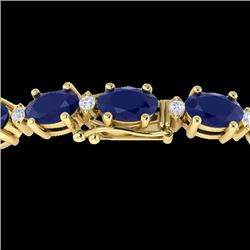 30.8 CTW Sapphire & VS/SI Certified Diamond Eternity Bracelet 10K Yellow Gold - REF-180K2W - 29462