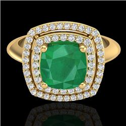 2.52 CTW Emerald & Micro VS/SI Diamond Pave Halo Ring 18K Yellow Gold - REF-74K5W - 20760