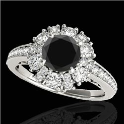 2.16 CTW Certified VS Black Diamond Solitaire Halo Ring 10K White Gold - REF-114M2H - 33986