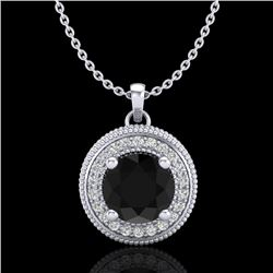 1.25 CTW Fancy Black Diamond Solitaire Art Deco Stud Necklace 18K White Gold - REF-89K3W - 38017