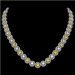 31.64 CTW Canary Yellow & White Diamond Designer Necklace 18K White Gold - REF-4472A8X - 42596