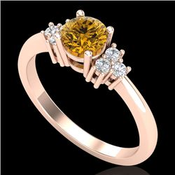 0.75 CTW Intense Fancy Yellow Diamond Engagement Classic Ring 18K Rose Gold - REF-101H8A - 37589