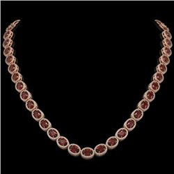 32.82 CTW Garnet & Diamond Halo Necklace 10K Rose Gold - REF-501A3X - 40446