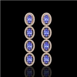 6.09 CTW Tanzanite & Diamond Halo Earrings 10K Rose Gold - REF-122H2A - 40512
