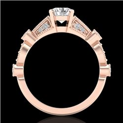 1.03 CTW VS/SI Diamond Solitaire Art Deco Ring 18K Rose Gold - REF-203K6W - 36972