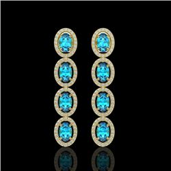 6.28 CTW Swiss Topaz & Diamond Halo Earrings 10K Yellow Gold - REF-103X6T - 40537