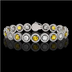 13.76 CTW Canary Yellow & White Diamond Designer Bracelet 18K White Gold - REF-1948N4Y - 42599