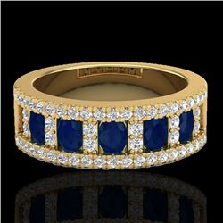 2.34 CTW Sapphire & Micro Pave VS/SI Diamond Inspired Ring 10K Yellow Gold - REF-61H8A - 20829