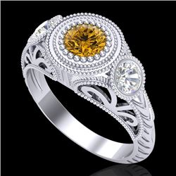 1.06 CTW Intense Fancy Yellow Diamond Art Deco 3 Stone Ring 18K White Gold - REF-154M5H - 37497
