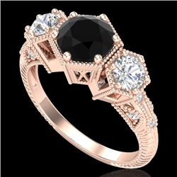 1.66 CTW Fancy Black Diamond Solitaire Art Deco 3 Stone Ring 18K Rose Gold - REF-123H3A - 38053