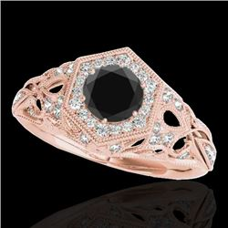 1.4 CTW Certified VS Black Diamond Solitaire Antique Ring 10K Rose Gold - REF-78A9X - 34179
