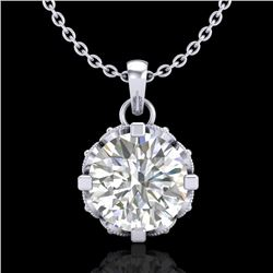 1.14 CTW VS/SI Diamond Solitaire Art Deco Stud Necklace 18K White Gold - REF-205K5W - 36842