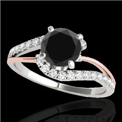 1.35 CTW Certified VS Black Diamond Bypass Solitaire Ring 10K White & Rose Gold - REF-62W2F - 35106