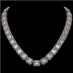 80.98 CTW Aquamarine & Diamond Halo Necklace 10K Rose Gold - REF-1317T3M - 41499