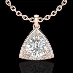 1.50 CTW Micro Pave Halo VS/SI Diamond Necklace 14K Rose Gold - REF-381W5F - 20523