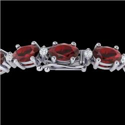 25.8 CTW Garnet & VS/SI Certified Diamond Eternity Bracelet 10K White Gold - REF-119A3X - 29452
