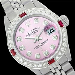 Rolex Men's Stainless Steel, QuickSet, Diam Dial & Diam/Ruby Bezel - REF-557N5A
