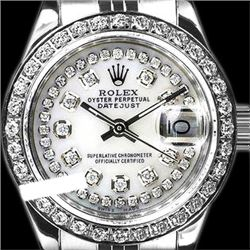 Rolex Men's Stainless Steel, QuickSet, Diamond Dial & Diamond Bezel - REF-557A4N