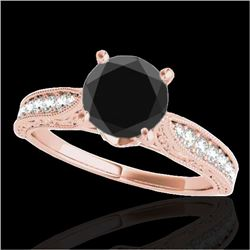 1.21 CTW Certified VS Black Diamond Solitaire Antique Ring 10K Rose Gold - REF-46T9M - 34724