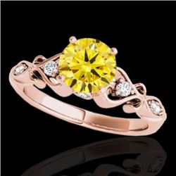 1.15 CTW Certified Si Intense Yellow Diamond Solitaire Antique Ring 10K Rose Gold - REF-156A4X - 348