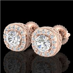 1.69 CTW VS/SI Diamond Solitaire Art Deco Stud Earrings 18K Rose Gold - REF-263H6A - 37119