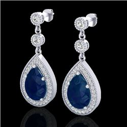6 CTW Sapphire & Micro Pave VS/SI Diamond Earrings Designer 18K White Gold - REF-93W8F - 23122