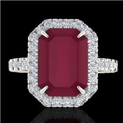 5.33 CTW Ruby And Micro Pave VS/SI Diamond Halo Ring 18K White Gold - REF-94H4A - 21432