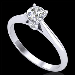 0.4 CTW VS/SI Diamond Solitaire Art Deco Ring 18K White Gold - REF-58T2M - 37277
