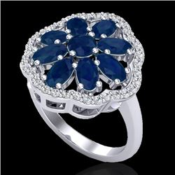 4 CTW Sapphire & VS/SI Diamond Cluster Designer Halo Ring 10K White Gold - REF-60T9M - 20786