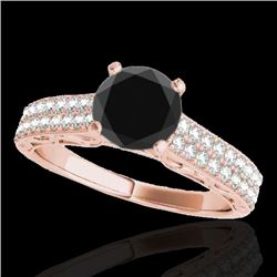 1.41 CTW Certified VS Black Diamond Solitaire Antique Ring 10K Rose Gold - REF-63K5W - 34697