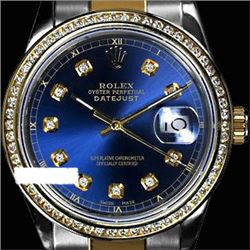 Rolex Ladies Two Tone 14K Gold/SS, Diamond Dial & Diamond Bezel, Sapphire Crystal - REF-446M6F