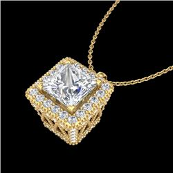 1.93 CTW Princess VS/SI Diamond Solitaire Micro Pave Necklace 18K Yellow Gold - REF-436T4M - 37174