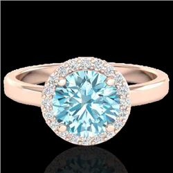 2 CTW Sky Blue Topaz & Halo VS/SI Diamond Micro Ring Solitaire 14K Rose Gold - REF-41X3T - 21622