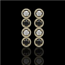 5.58 CTW Black & White Diamond Designer Earrings 18K Yellow Gold - REF-581T3M - 42613