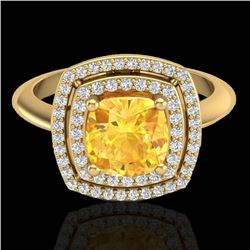 1.77 CTW Citrine & Micro VS/SI Diamond Pave Halo Ring 18K Yellow Gold - REF-63W6F - 20758